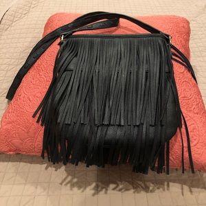 Steve Madden Black fringe crossbody purse